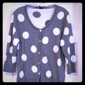 Madison Cardigan grey polka dot